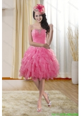 Pretty Sweetheart 2015 Prom Dresses with Ruffles and Beading