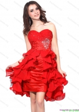Red Ruching Sweetheart Prom Dresses with Beading and Ruffles