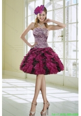Ruffled Strapless Leopard Prom Dresses in Multi Color for 2015