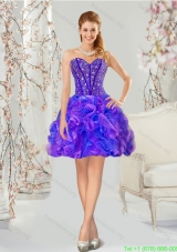 Traditional Beading and Ruffles Prom Dresses in Multi Color for 2015
