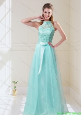 2015 Summer Elegant Empire Halter Top Laced Mint Prom Dresses with Sash