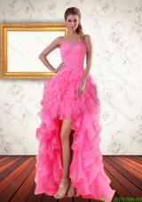 Best Baby Pink Strapless Prom Dreses with Beading and Ruffled Layers