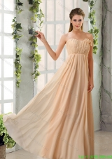 Best Empire V Neck Ruching Chiffon Prom Dresses with Cap Sleeves