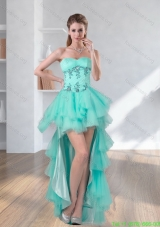 Best High Low Turquoise Sweetheart Prom Dresses with Embroidery