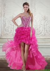 Best Pink High Low Sweetheart Prom Dresses with Beading and Ruffled Layers