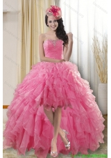 Best High Low Dresses for Quinceanera with Ruffles and Beading