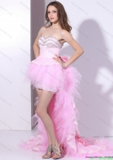 Cheap Baby Pink Ruffled One Shoulder Prom Dresses with Hand Made Flower and Beading