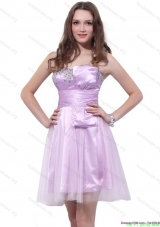 Cheap Lilac Strapless Mini Length 2015 Prom Dresses with Ruffles and Beading