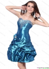 Cheap Beading Strapless Prom Dresses with Pick Ups and Hand Made Flower