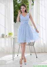 Cheap V Neck Chiffon Prom Dress with Ruching and Hand Made Flowers