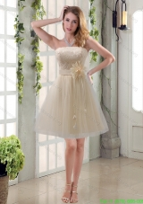 Handmade Flower Strapless Lace Cheap Prom Dresses with Mini Length