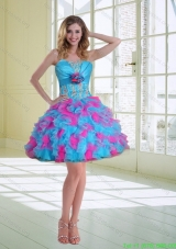 2015 Cheap Ball Gown Strapless Ruffled Prom Dresses with Hand Made Flower