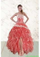 2015 Cheap High Low Ruffled Strapless Prom Dresses in Watermelon