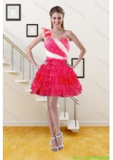 2015 Cheap One Shoulder Prom Gown with Ruffled Layers and Hand Made Flower