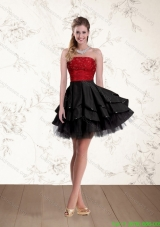 2015 Cheap Strapless Beaded Prom Dresses in Red and Black