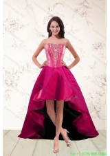 2015 Cheap Strapless High Low Prom Dresses with Appliques