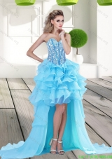 2015 Elegant Aqua Blue High Low Bridesmaid Dresses with Beading and Ruffles