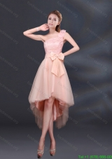 2015 Elegant Bowknot High Low Lace Up Bridesmaid Dresses with One Shoulder