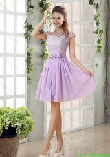 2015 Elegant Chiffon Bridesmaid Dress with Ruching Bowknot