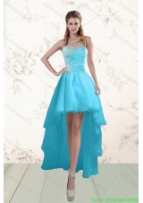 Cheap Baby Blue Prom Gown with Beading and Ruffles