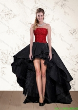 Cheap High Low Strapless Beaded Prom Dresses in Red and Black