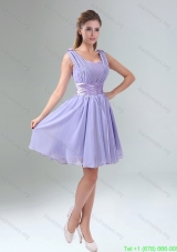 Elegant Straps Lavender Ruched Mini Length Bridesmaid Dresses with Waistband