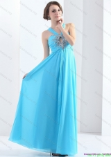 2015 Elegant Halter Top Floor Length Bridesmaid Dresses with Ruching and Beading