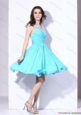 Elegant Beading and Ruching 2015 Bridesmaid Dresses in Aqua Blue