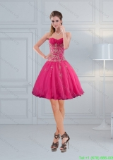 Elegant Sweetheart Hot Pink Bridesmaid Dresses with Embroidery and Beading