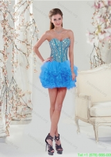 Plus Size Blue Prom Gown Dress with Beading and Ruffles