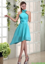 Plus Size Halter Ruching and Hand Made Flowers  Prom Dresses