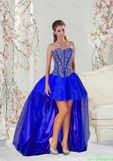 Plus Size Mini-length Royal Blue Prom Dresses with Beading  for 2015