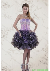 Plus Size Strapless Multi Color Prom Dresses with Ruffles and Appliqeues