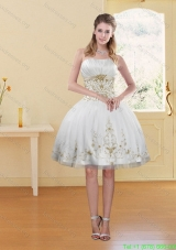 Plus Size Strapless White And Wine Red Prom Dresses with Embroidery
