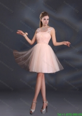 Plus Size Straps Appliques Prom Dresses in Baby Pink