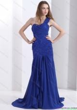 Sexy 2015 One Shoulder Prom Dress with Ruching and Beading