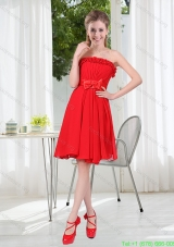 Wonderful Ruching Strapless Bowknot Short Prom Dresses in Red