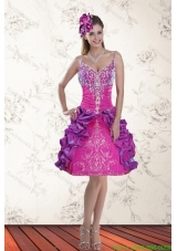 2015 Beautiful Ball Gown Straps Multi Color Short Prom Dresses with Embroidery