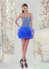 2015 Most Popular Royal Blue Short Prom Dresses with Beading and Ruffles