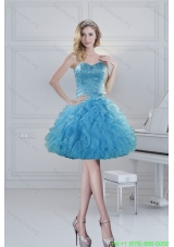 2015 Prefect Ball Gown Baby Blue Beading Short Prom Dresses for Spring