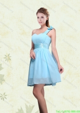 A Line Ruching Chiffon Short Prom Dresses with One Shoulder