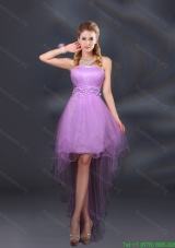 Appliques and Ruffles A Line Strapless Short Prom Dresses