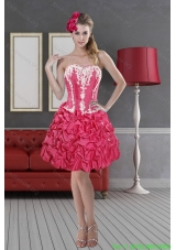 Hot Pink Sweetheart 2015 Pretty Short Prom Dresses with Pick Ups and Embroidery