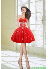 Hot Sale Ball Gown Sweetheart Appliques Red Short Prom Dresses