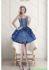 Popular Sweetheart Blue Embroidery and Beading Short Prom Dresses for 2015