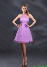 Pretty Halter A Line Short Prom Dresses with Hand Made Flowers