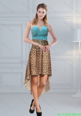 Unique Beaded Leopard Printed 2015 Short Prom Dresses in Aqua Blue