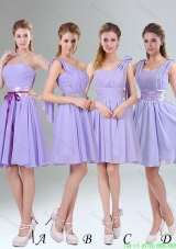 Group Buying Lavender Princess Mini Length Bridesmaid Dress with Ruching