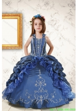 Cheap Appliques and Pick Ups Flower Girl Dresses in Navy Blue