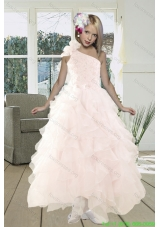 Cheap Shoulder Baby Pink Flower Girl Dresses with Beading and Ruffles